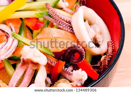 Salad from seafood with shrimps close up - stock photo