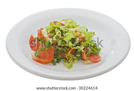 Salad from tomatoes, a green onions, salad on a white plate - stock photo