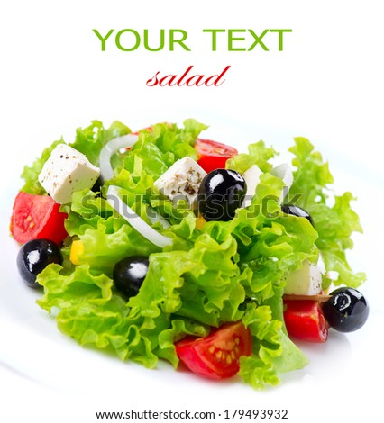 Salad. Greek Salad isolated on a White Background. Mediterranean Salad with Feta Cheese, Tomatoes and Olives. Fresh Healthy vegetarian food  - stock photo