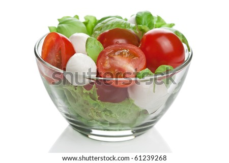 salad in bowl isolated - stock photo
