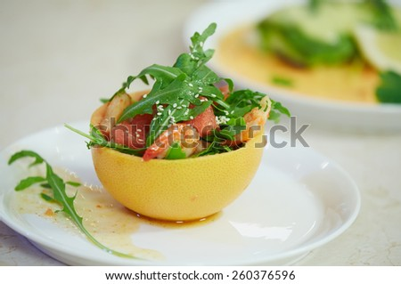 salad in grapefruit peel
