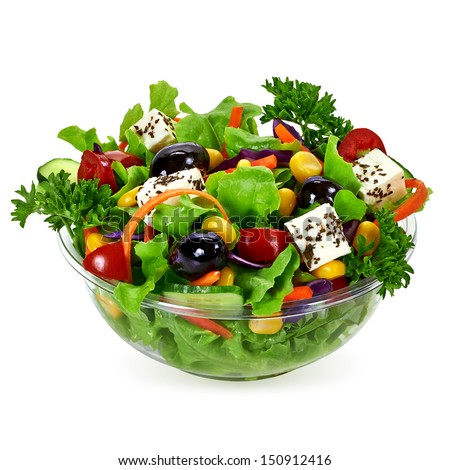 Salad in takeaway container on white background - stock photo