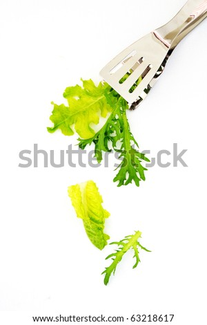 Salad leaves and tongs isolated on white background - stock photo