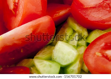 salad mix with tomato and cucumber