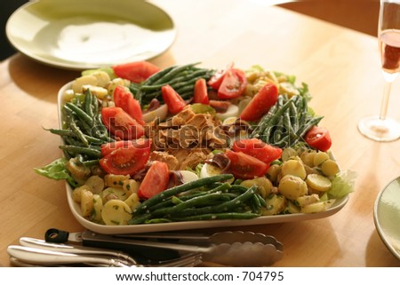 Salad Nicoise carefully arranged on a wood table with plates and a glass of wine - stock photo