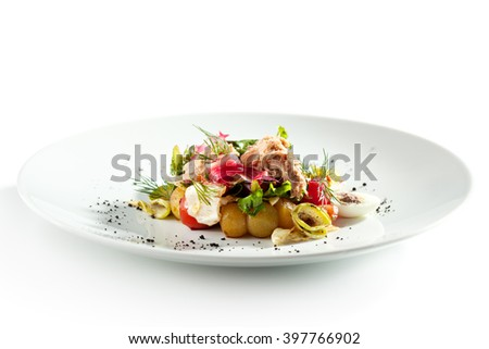 Salad Nicoise with Seared Tuna - stock photo