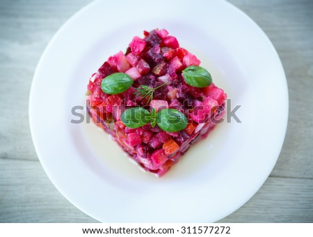 salad of boiled vegetables on a plate - stock photo