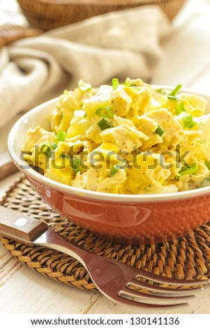 Salad of chicken breast with pineapple - stock photo