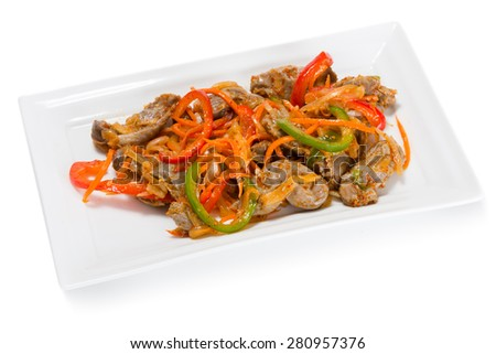 Salad of chicken gizzards, red and green sweet peppers and spices. From a series of Food Korean cuisine. - stock photo