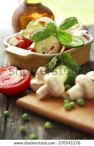salad of fresh vegetables - stock photo