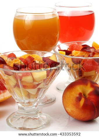 salad of ripe fruit - stock photo