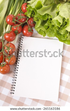 Salad, recipe book, copy space, vertical - stock photo