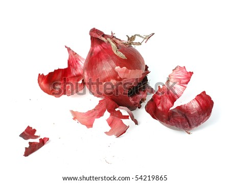Salad red onions with spillage husk,studio isolated