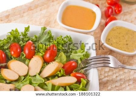Salad sausage Thai food. - stock photo