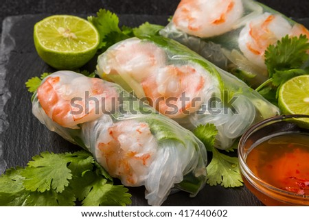 Salad spring roll of Asian wind prawns