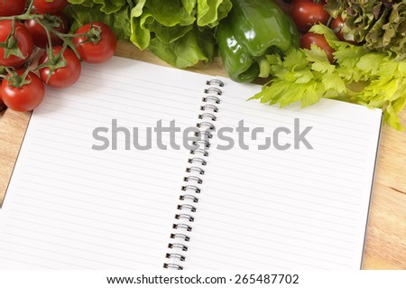 Salad vegetable, cookbook, copy space - stock photo