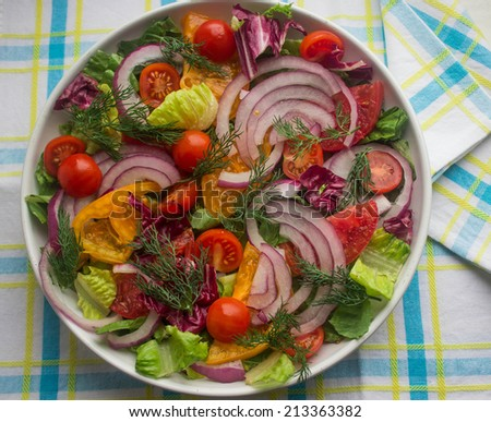 salad vegetables - tomatoes, onions and lettuce