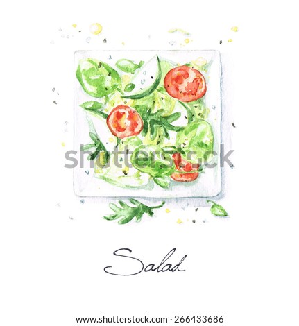 Salad - Watercolor Food Collection - stock photo