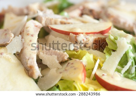 Salad with apple and pork chop - stock photo