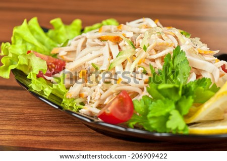 Salad with calamary and fresh vegetable
