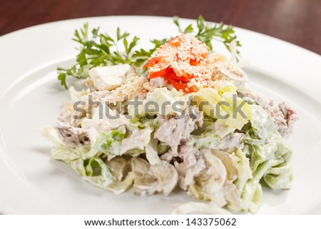 salad with chicken and mushrooms - stock photo