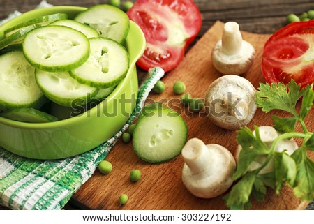 salad with cucumber - stock photo