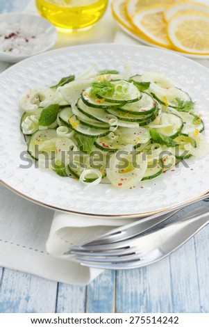 Salad with cucumber, fennel, green onions and mint