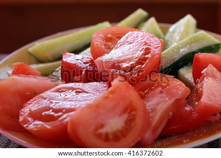 salad with cucumbers and tomatoes - stock photo