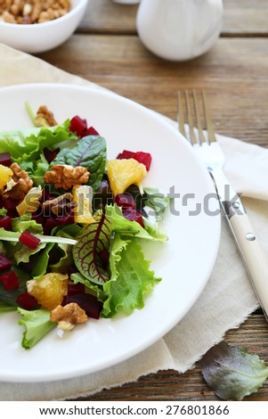 Salad with fruits and vegetables, food
