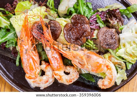 Salad with langoustine and greens