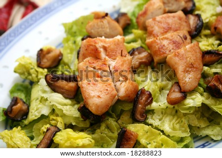 Salad with meat and shiitake mushrooms