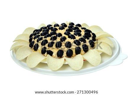 Salad with olives. Isolated over white background. - stock photo