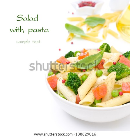 salad with pasta, smoked salmon, broccoli and green peas, the ingredients in the background and space for text, isolated on a white background - stock photo