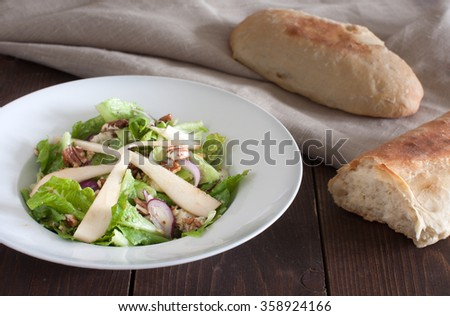 salad with pear and gorgonzola and homemade ciabatta bread - stock photo