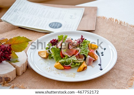 salad with potato and ham