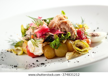 Salad with Seared Tuna - stock photo