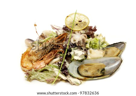 salad with shrimp and mussels on a white background