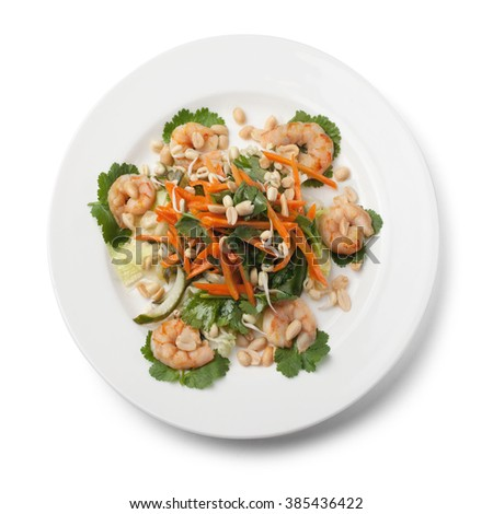 Salad with shrimps, isolated on white - stock photo