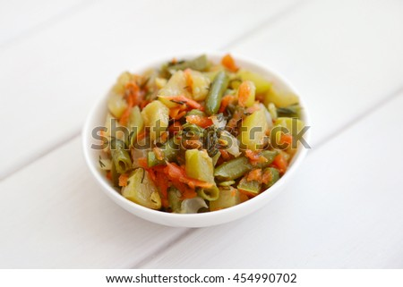 white background salad plate from top view healthy food concept salad ...