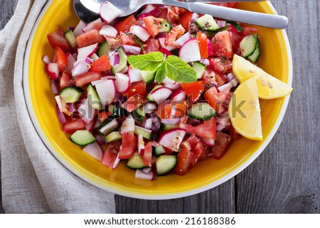 Salad with tomatoes, cucumbers, radishes and mustard dressing - stock photo
