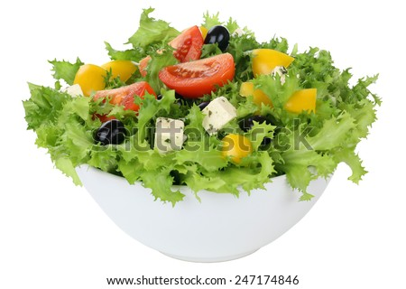 Salad with tomatoes, paprika, Feta cheese and olives in bowl isolated - stock photo