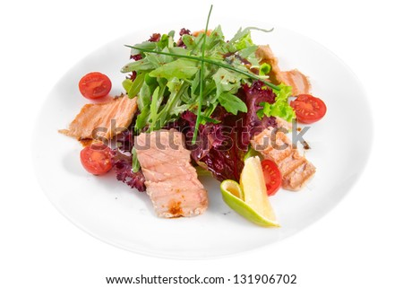 Salad with tuna and herbs - stock photo