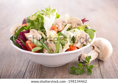salad with vegetable and mushroom - stock photo