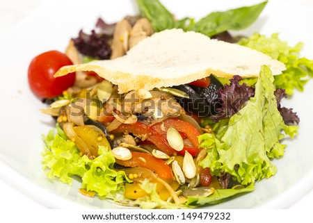 salad with vegetables and meat on  restaurant