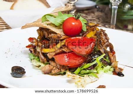 salad with vegetables and pine seeds on a white background - stock photo