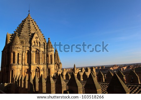 Salamanca Cathedral on sunset - stock photo