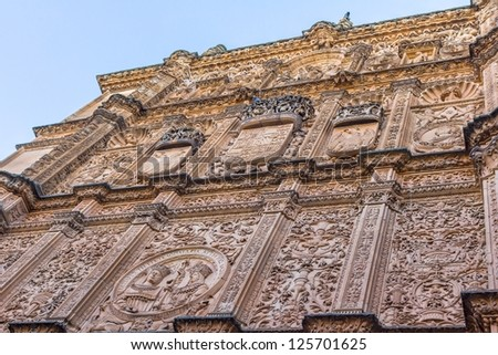 Salamanca old university facade, with the famous frog on the skull.