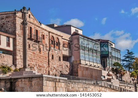 SALAMANCA, SPAIN - DECEMBER 5: Art Nouveau and Art Deco museum on December 5, 2012 in Salamanca, Spain. Built by Joaquin de Vargas in 1905. Stained glass by Manuel Ramos Andrade. Museum opened in 1995 - stock photo