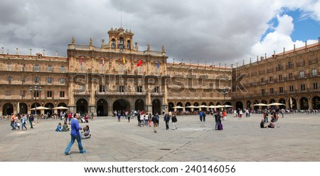 SALAMANCA, SPAIN - MAY 31, 2014: City Hall at the Plaza Mayor in Salamanca, Castile and Leon, Spain. - stock photo