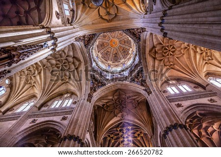 SALAMANCA, SPAIN - MAY 10, 2014 Stone Columns Dome Angels Statues New Salamanca Cathedral Spain. New Cathedral was built from 1513 to 1733 and commissioned by Ferdinand V of Castile, Spain. - stock photo
